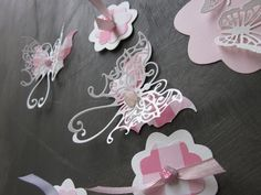 3D pink and white fairy butterfly and flower paper wall art set ( 20 pieces)  --- A fun mix to decorate a fairy party or a girls room