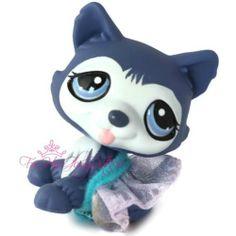 Littlest Pet Shop✵LPS✵1217✵PURPLE BLUE HUSKY PUPPY BALLERINA DOG✵WOLF✵DOT EYES✵
