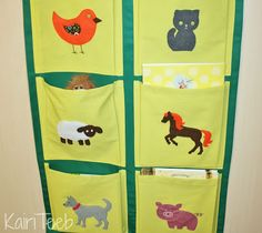 Wall pocket organizer with animal pictures  sc 1 st  Pinterest & Kids organizer hanging wall fabric pocket storage for books and ...