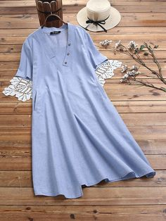 Button V-neck Short Sleeve Solid Plus Size Vintage Dress Plus Size Vintage Dresses, Plus Size Dresses, Vestidos Vintage, Spring Dresses, Dress Outfits, V Neck, Buttons, Shirt Dress, Sleeves