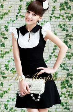 Morpheus Boutique  - Black White  Lace Designer Vintage Ruffle Princess Dress
