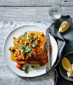Australian Gourmet Traveller fast recipe for spiced chicken with chickpeas, carrot and preserved lemon. Great Chicken Recipes, Chicken Salad Recipes, Meat Recipes, Gourmet Recipes, Cooking Recipes, Healthy Recipes, Recipe Chicken, Entree Recipes, Turkey Recipes