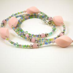 Beaded ID Lanyard, Pink Matte Twist Beads, Pink Catseye, Pink Catseye, Rainbow Pastel Seed Beads, Breakaway Style