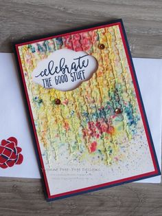 Embossing Paste, Brusho and Picture Perfect Birthday all from the 2018 Stampin' Up! Occasions catalogue.