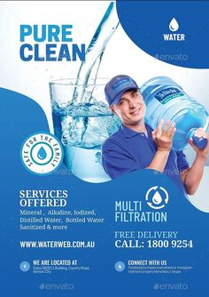 Buy Water Refilling Services Flyer by Artchery on GraphicRiver. Water Refilling Station Flyer Design Template Boost your company's sales and attract new customers! This Water Refill. Brochure Inspiration, Flyer Design Inspiration, Magazine Ideas, Water Poster, Graphic Design Brochure, Water Logo, Leaflet Design, Water Bottle Design, Web Design