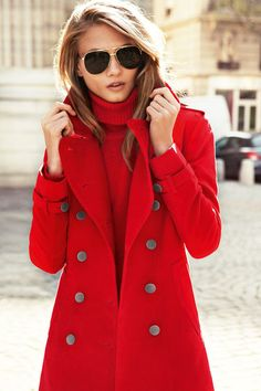 red jacket and sunglasses.