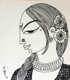 Artwork titled Woman Figurative Drawing by artist Varsha Kharatamal Madhubani Art, Madhubani Painting, Indian Art Paintings, Ink Paintings, Portrait Paintings, Rajasthani Art, Zentangle, Mandala Art Lesson, Indian Folk Art