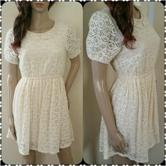 Ivory lace dress Ivory lace dress with embroidered lace collar on front. Keyhole button closure on back of neck. Cinched waist flatters your figure! Perfect for sprig and summer music festivals! Forever 21 Dresses