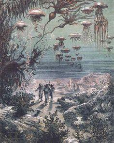 20,000  Leagues under the  Sea Sea Illustration, Illustrations, Jules Verne, Art Science Fiction, Urban Garden Design, Bourbon, Leagues Under The Sea, Days Of Future Past, Retro Futuristic