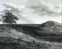 HUNTSMEN AND RUSTICS IN AN EXTENSIVE LANDSCAPE NEAR HAARLEM by Adrianus Serne