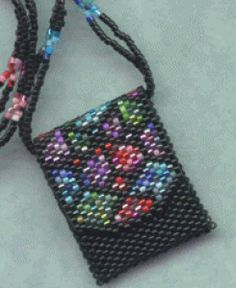 Peyote Purse Necklace Pattern, but could also be used to make a beaded doll purse.