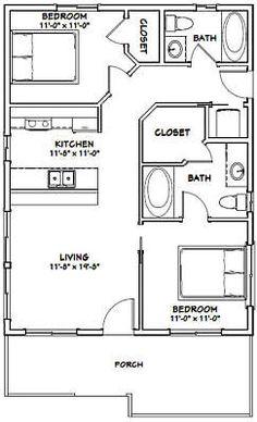 apartment floor plans Details about House -- 2 Bedroom 2 Bath -- PDF Floor Plan -- 768 sq ft -- Model Small House Floor Plans, Cabin Floor Plans, Tiny Cabin Plans, Cob House Plans, Small Bathroom Floor Plans, The Plan, How To Plan, 2 Bedroom House Plans, 2 Bedroom House Design