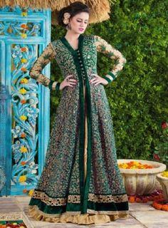 #BottleGreen #Pant and #Lehenga Style #Salwar Features net salwar with embroidery and zari work, velvet inner, golden silk lehenga, bottle green silk pant and bottle green chiffon dupatta with forside borders.