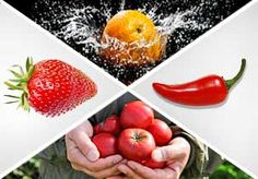 Image: Strawberry, an orange splashing in water, red pepper & a man holding tomatoes (© Creativ Studio Heinemann/Getty Images; Henrik Sorensen/Getty Images; John E. Kelly/Getty Images; sot/The Image Bank/Getty Images)
