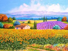 Provence Sunflowers and Lavender wallpaper, Jean Marc Janiaczyk