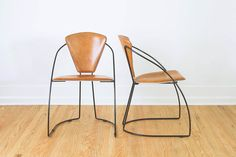 RESERVED Vintage Minimalist Arrben Style Leather and Black Wire Chairs