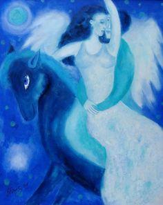 Fantastisch Ölmalerei   Gemälde, Bild,Wandbild, Leinwand,Engel, Pferd   Ein  Designerstück