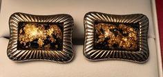 Original Vintage Hickok Monte Carlo Gold Leaf Cufflinks by CremedelaCuff on Etsy