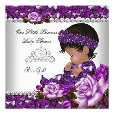 African American Princess Baby Shower Girl Rose 2 Custom Invite