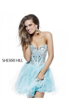 2014 Jewel Encrusted Cocktail Dress by Sherri Hill 1403 AquaOutlet