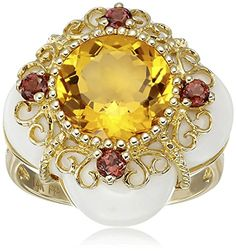 14k Yellow Gold Round Brilliant Cut Citrine Multi-Gemstone Ring, Size 6 Amazon Collection-$197.23-$201.40 http://www.amazon.com