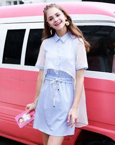 #AdoreWe #VIPme (VIPSHOP Global) Womens - KORAKANE Blue A-Line Polo Neck Folds Stripes Dress - AdoreWe.com