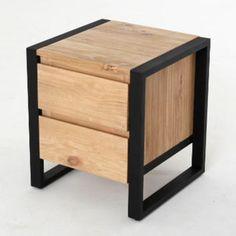 Chevet 2 tiroirs en fer et pin massif H45cm BOSTON Akhal port offert