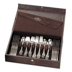 @Overstock - Keep your silverware organized with this sturdy Reed & Barton flatware case that holds up to 80 pieces. The brown leatherette case has a snap-lock closure that keeps it secure, and the cloth lining works to prevent your silver from tarnishing.http://www.overstock.com/Home-Garden/Reed-Barton-Modern-Hostess-Flatware-Case/5336619/product.html?CID=214117 $55.00