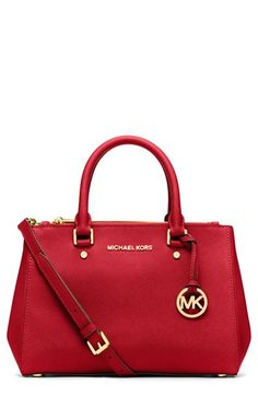Women's MICHAEL Michael Kors 'Small Sutton' Saffiano Leather Satchel Red One Size
