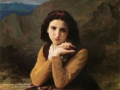 Masterpieces Paintings : William Bouguereau Oil Paintings Wallpapers  - Mignon Pensive,  William Bouguereau Oil Painting 1600*1200  19