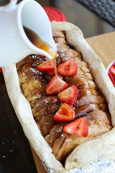 Campfire French Toast by Stacey Ingredients: 1 loaf of bread of choice 1 carton of Burnbrae Farms French Toast Egg Creations ¼ cup sliced almonds 1 500g container of fresh strawberries Confectioners sugar (Icing Sugar) Syrup of choice camping recipes, recipes for camping #camping #recipe