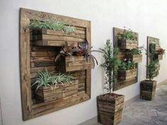 41 Diy Creative Vertical Garden Wall Planter Boxes 79 How to Diy Vertical Wall Garden Planter 6 Wooden Pallet Wall, Pallet Wall Decor, Pallet Art, Diy Pallet, Pallet Ideas, Wood Wall, Pallet Walls, Diy Wood, Pallet Boxes