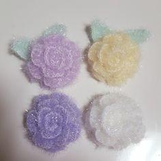 사용실 : 고급수세미실 사용바늘 : 모사용 5호 폴리수세미실로 예쁜 꽃이 만들어진다니♡ 다음모임때 이걸...