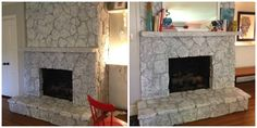 how to paint a stone fireplace with black grout | Painting a Stone Fireplace By Paper & Fox