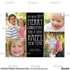 Holiday Wishes Christmas Photo Card Postcard Celebrate the season with this modern and stylish holiday postcard from Berry Berry Sweet.