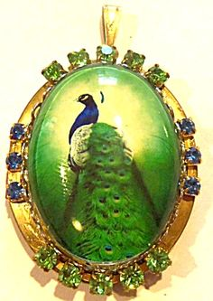 Rhinestone Peacock Locket Vintage Pendant. Click on the image for more information.