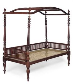 Collapsible 19th Century Anglo-Indian hardwood campaign bed (Christie's)  gracie-senseandsimplicity.blogspot.com