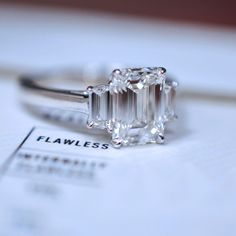 Catchy Tiffany And Co Vintage Engagement Rings In Three Stone Emerald Cut Engagement Ring