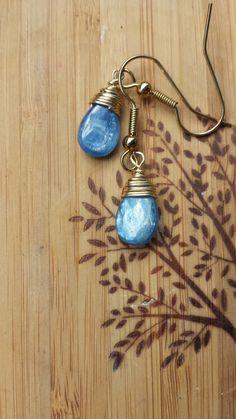 Wire Wrapped Kyanite Earrings by BlackwoodArts on Etsy, $10.00