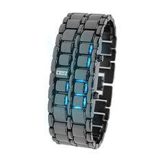 Domire boy Blue Light Black Metal Strap Lava Style Digital LED Watch #girls #watches