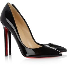 Christian Louboutin Pigalle 100 patent-leather pumps ($675) ❤ liked on Polyvore featuring shoes, pumps, heels, sapatos, christian louboutin, black, christian louboutin shoes, slip on shoes, christian louboutin pumps and black high heel pumps