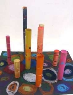 Kids Art Activity:  3-D art for kids: sculptures with mini wooden dowels