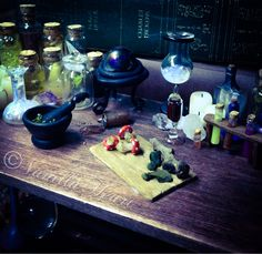 1:12 dollhouse Witch & Wizard apothecary table By Vanilla Heart Miniatures x