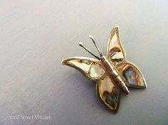 Sterling Silver Butterfly Brooch Abalone by 52ndstreetvintage, $12.00