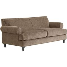 Pier 1 Imports Carmen Sofa - Taupe found on Polyvore featuring polyvore, home, furniture, sofas, nailhead trim sofa, nailhead sofa, nail head sofa, light brown sofa and pier 1 imports furniture