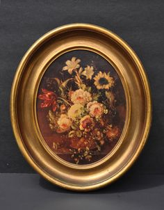 Vintage Floral Still Life Gilt Wood Frame Painted by FabsAndFaves, $40.00