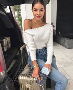 Off the shoulder white crop top high waisted light blue jeans girl curves fashion outfit summer