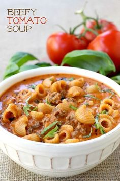 This Beefy Tomato Soup is loaded with beef and pasta - made with an easy…