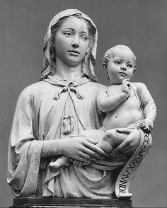 Madonna and Child with Scroll. Luca della Robbia, 14000. Fl., Italia.