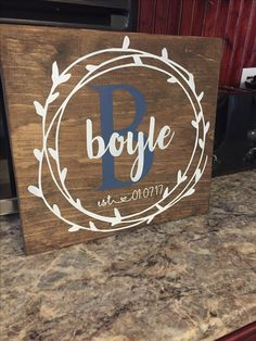 Custom wood sign, personalized wedding gift, wedding date, family name and initial